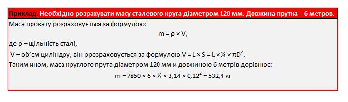 Формула розрахунку маси сталевого круга