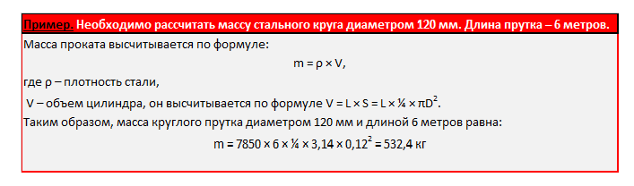 Формула расчета круга стального